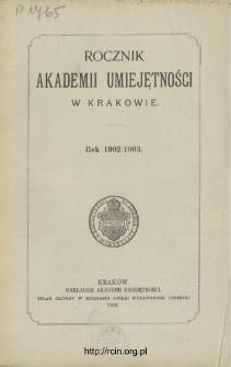 Rocznik Akademii Umiejętności w Krakowie, Rok 1902/1903