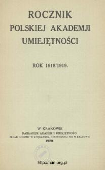 Rocznik Polskiej Akademii Umiejętności, Rok 1918/1919