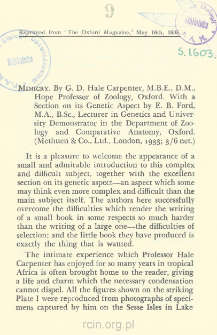 Mimicry: by G. D. Hale Carpenter, D.M., Hope Professor of Zoology, Oxford with a Section on its Genetic Aspect by E. B. Ford, M.A., B.Sc., Lecturer in Genetics and University Demonstrator in the Department of Zoology and Comparative Anatomy, Oxford (Methuen & Co., Ltd., London, 1933; 3/6 net.) : [recenzja książki]