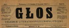 Głos : tygodnik literacko-społeczno-polityczny 1891 N.1