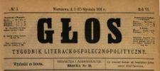 Głos : tygodnik literacko-społeczno-polityczny 1891 N.3