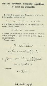 Sur une sommation d'intégrales considérées en calcul des probabilités