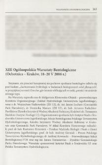 XIII Ogólnopolskie Warsztaty Bentologiczne (Ochotnica - Kraków, 18-20 V 2006 r.)