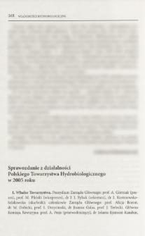 Sprawozdanie z działalności Polskiego Towarzystwa Hydrobiologicznego w 2005 roku