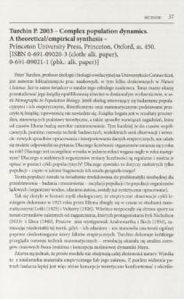 Truchin P. 2003 - Complex population dynamics. A theoretical/empirical synthesis - Princeton University Press, Princeton, Oxford, ss. 450. [ISBN 0-691-09020-3 (cloth: alk. paper), 0-691-09021-1 (pbk.: alk. paper)]