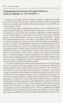 X Europejska Konferencja Chiropterologiczna (Galway, Irlandia, 21-26 VIII 2005 r.)