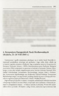 4. Sympozjum Europejskich Nauk Słodkowodnych (Kraków, 22-26 VIII 2005 r.)