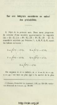 Sur une intégrale considérée en calcul des probabilités