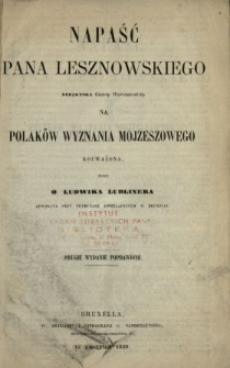 Napaść Pana Lesznowskiego redaktora Gazety Warszawskiej na Polaków wyznania mojżeszowego