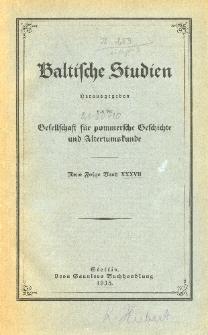 Baltische Studien. Neue Folge Bd. 37 (1935)