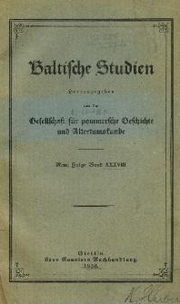 Baltische Studien. Neue Folge Bd. 38 (1936)