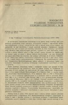 10 lat Polskiego Towarzystwa Hydrobiologicznego (1959-1969)