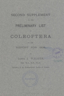 Second supplement to the preliminary list of Coleoptera in the report for 1906