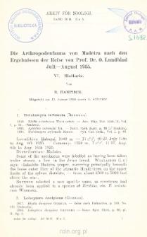 Die Arthropodenfauna von Madeira nach den Ergebnissen der Reise von Prof. Dr. O. Lundblad, Juli-August 1935
