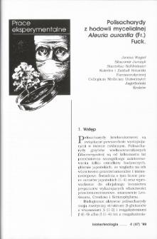 Polisacharydy z hodowli mycelialnej Aleuria aurantia (Fr.) Fuck.