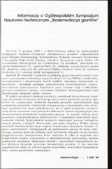 """Informacja o Ogólnopolskim Sympozjum Naukowo-Technicznym """"Bioremediacja gruntów"""""""