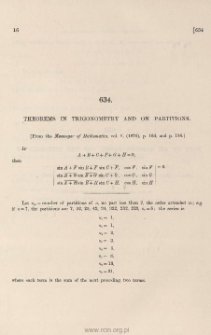 Theorems in trigonometry and on partitions