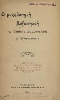 O pożądanych reformach w gminie żydowskiej w Warszawie