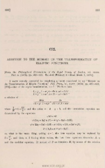 Addition to [578] memoir on the transformation of elliptic functions
