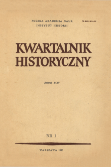 Kwartalnik Historyczny R. 94 nr 1 (1987), Title pages, Contents