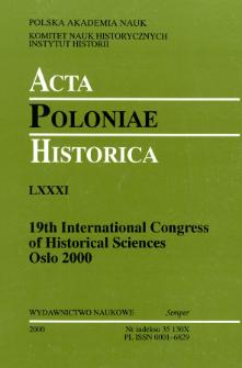 Acta Poloniae Historica T. 81 (2000), Strony tytułowe, spis treści