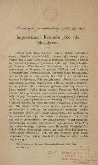 Improwizacja Konrada jako oda filozoficzna