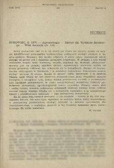 Recenzje. Borowiec, S. 1970 - Agroekologia - Skrypt dla Wydziału Rolniczego - WSR Szczecin str. 140