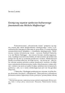Estetyczny wymiar społeczno-kulturowego fenomenalizmu Michela Maffesolego