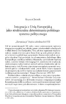 Integracja z Unią Europejską jako strukturalna determinanta polskiego systemu politycznego