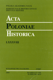 Acta Poloniae Historica T. 88 (2003), Title pages, Contents