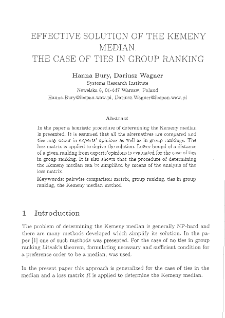 Effective solution of the Kemeny median. The case of ties in group ranking