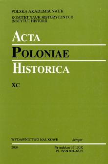 Acta Poloniae Historica T. 90 (2004), Strony tytułowe, spis treści
