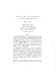 Sensitivity and robustness analysis in combinatorial optimization