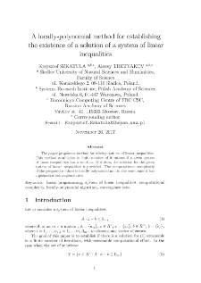 A locally-polynomial method for establishing the existence of a solution of a system of linear inequalities