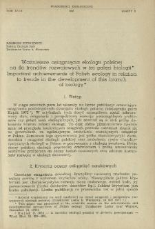 Ważniejsze osiągnięcia ekologii polskiej na tle trendów rozwojowych w tej gałęzi biologii