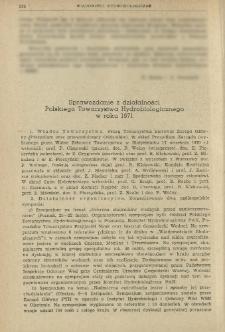 Sprawozdanie z działalności Polskiego Towarzystwa Hydrobiologicznego w roku 1971