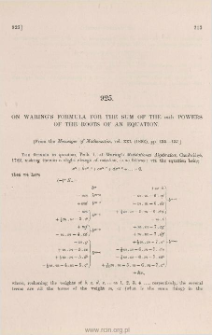 On Waring's formula for the sum of the mth powers of the roots of an equation