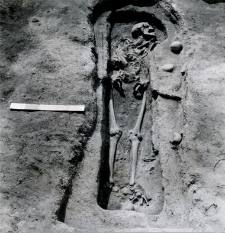 Grave 4-88, burial cut, inhumation - skeleton with birth defect