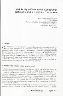 Metabolity wtórne kultur tkankowych gatunków roślin z rodziny Lamiaceae