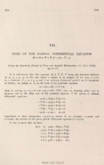 Note on the partial differential equation