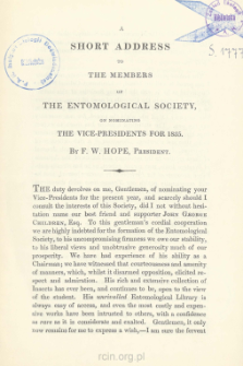 A short address to the members of The Entomological Society, on nominating the vice-presidents for 1835