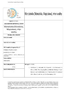 Morozówka (Morozivka,Морозівка), młyn wodny