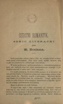 Ostatni romantyk : szkic literacki