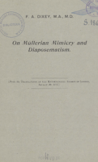 On Mullerian Mimicry and Diaposcmatism: A reply to Mr. G. A. K. Marshall