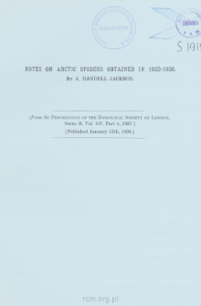 Notes on Arctic spiders obtained in 1933-1936