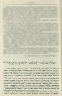 Irving, L. 1972 - Arctic life of birds and mammals, including man - Springer-Verlag, Berlin-Heidelberg-New York, 191 str.