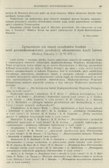 Sympozjum na temat rezultatów badań nad prawidłowościami produkcji ekosystemu Loch Leven (Stirling, Szkocja, 11-13 VI 1973 r.)