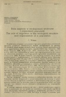 Rola migracji w ekologicznej strukturze i organizacji populacji