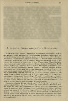 Z działalności Warszawskiego Klubu Ekologicznego