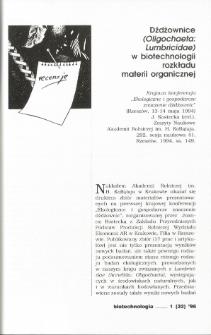 Dżdżownice (Oligochaeta: Lumbricidae) w biotechnologii rozkładu materii organicznej
